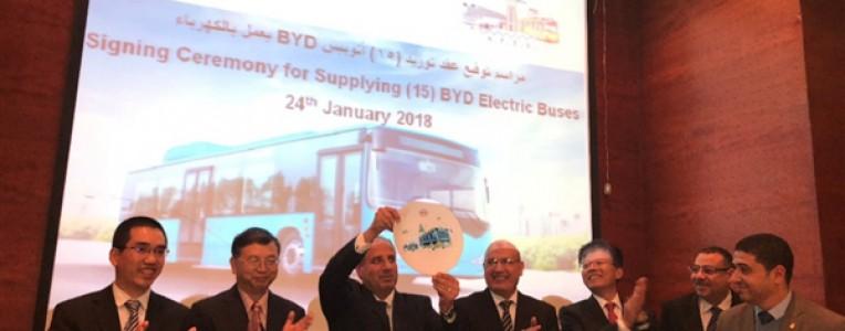 埃及迎来史上首支纯电动巴士车队:比亚迪打造