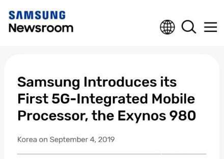 三星首款5G处理器Exynos 980发布:8nm工艺,集成5G基带,年底量产!-芯智讯